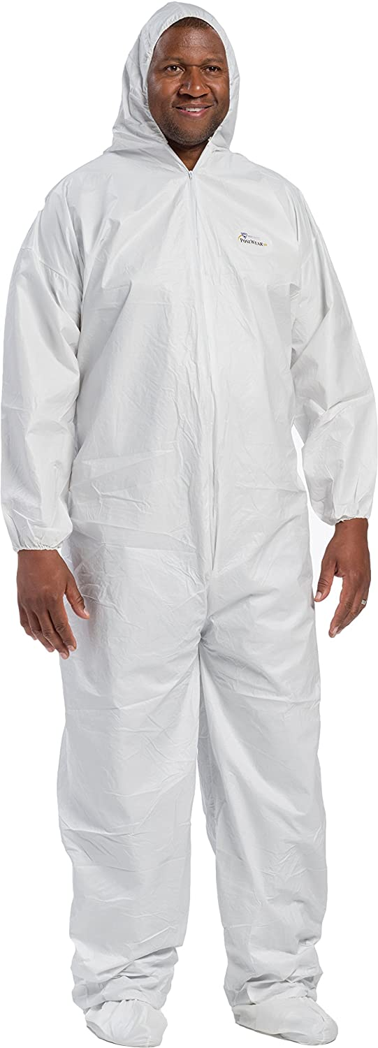 Box of 25 White 3XL West Chester 3609//3XL Polypropylene Posiba Coverall Hood and Boot