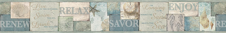Chesapeake DLR53511B Sagamore Blue Cape Cod Wallpaper Border