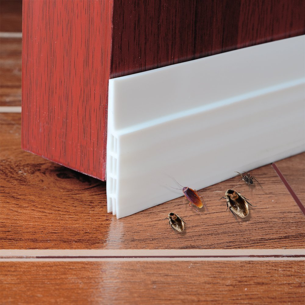 Jauto 100X5 cm Self-Adhesive Door Seal Sealing Strip Draught Excluder Insect Replacement Weatherproof Blocker Sound Seal Silicone Door Stop, Grey