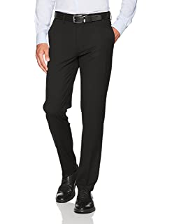 Haggar Mens Premium No Iron Khaki Slim Fit Flat Front ...