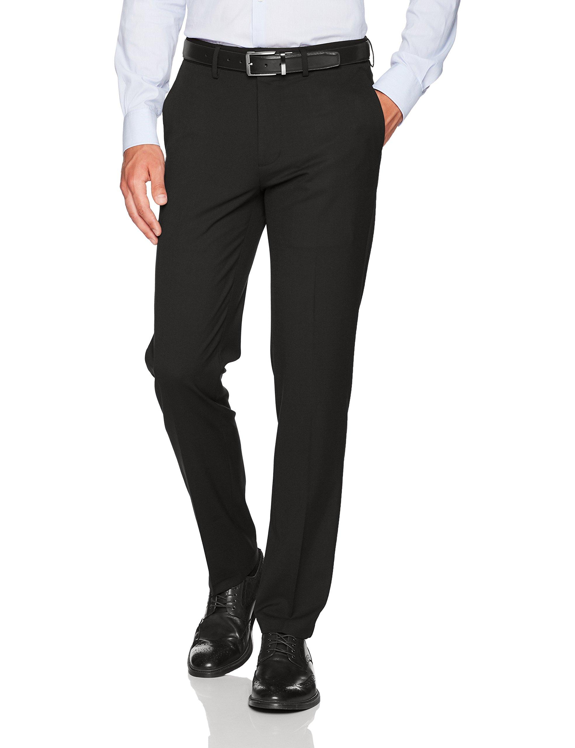 Haggar Men's J.m Stretch Superflex Waist Slim Fit Flat Front Dress Pant, Black, 29Wx32L