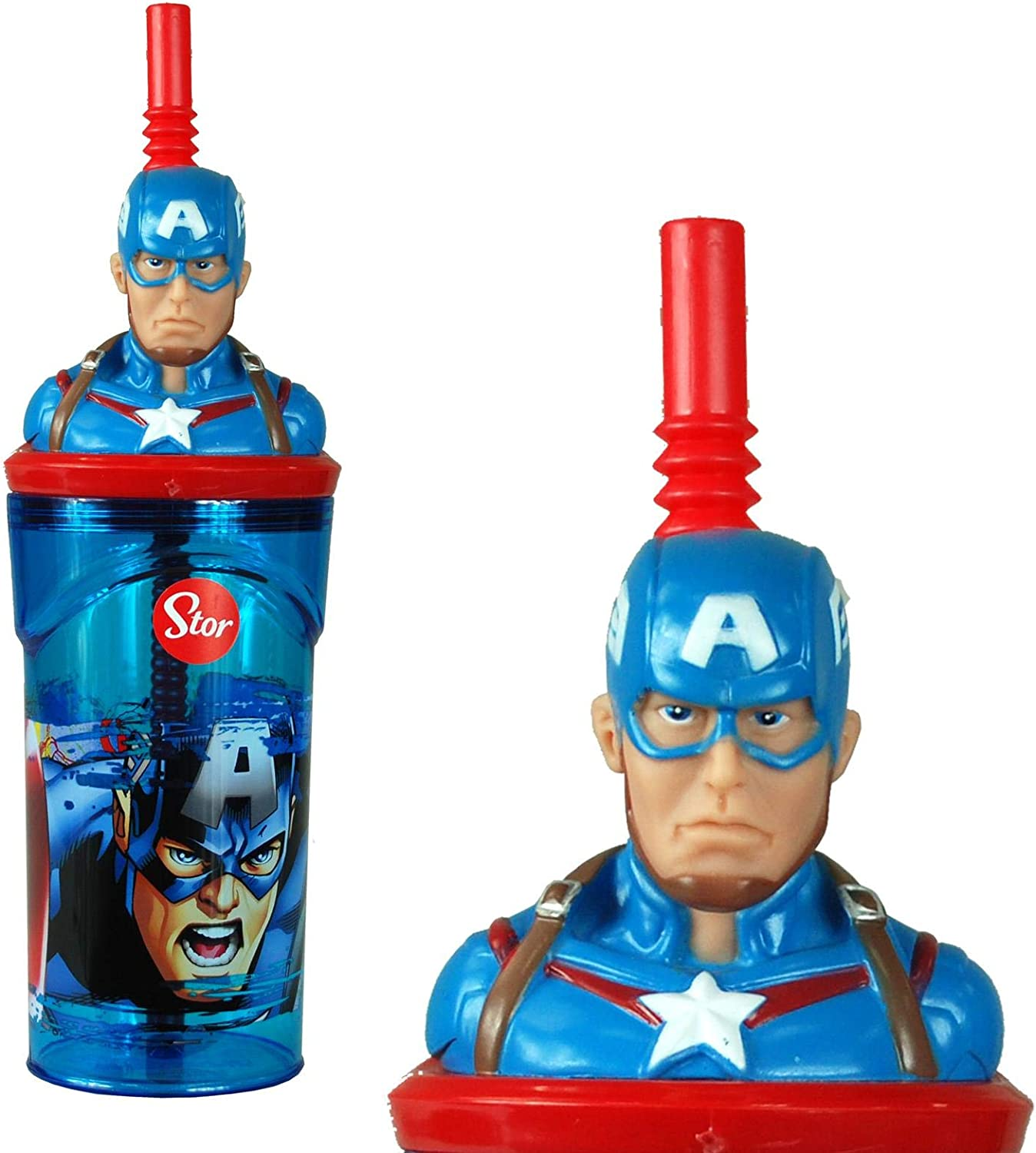 7cm Diameter x 14cm Height Sturdy Novelty Enclosed Drinking Cup. Captain America 3D Figurine Plastic Tumbler Beaker with Flexi Straw 360ml