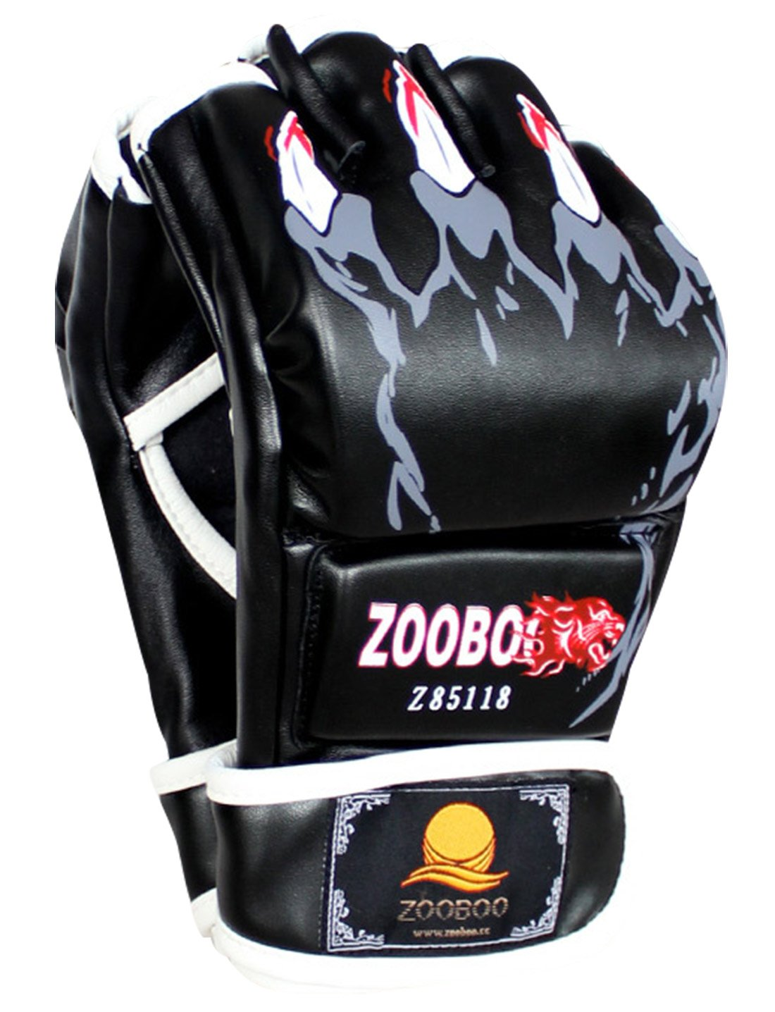 MMA Boxing Training Gloves Half Finger Grappling Martial Arts Sparring Punching Bag Cage Fighting Hide Leather Mitts UFC Combat - Black ZOOBOO