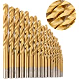 Migiwata 1.0-10mm Straight Shank Titanium Coated High Speed Steel Twist Drill Bits Set of 19pcs in 19 Sizes for General Purpose