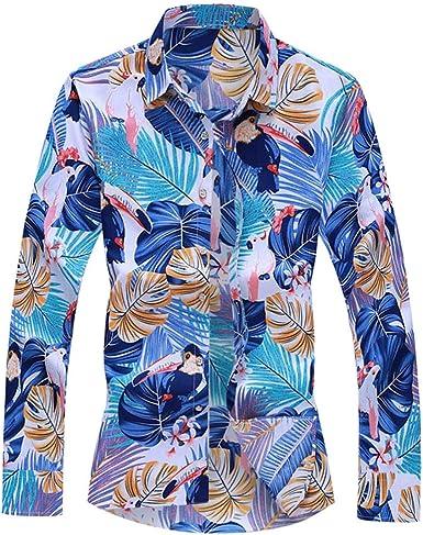 Camisa Hawaiana Hombre Camisas Manga Larga con Estampado de Hojas Diario Casual Moda Fiesta de Otoño Azul: Amazon.es: Ropa y accesorios