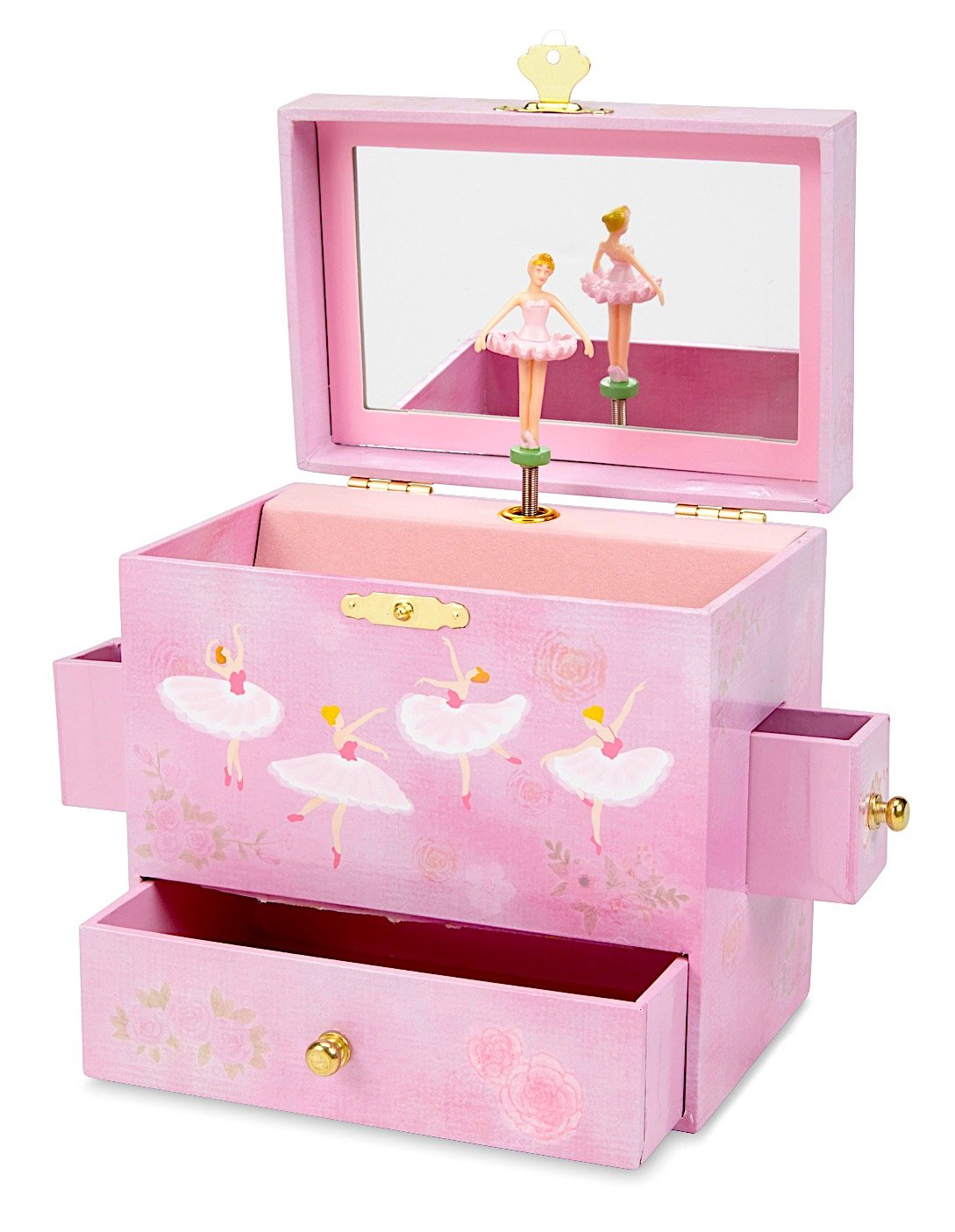JewelKeeper Ballerina Musical Jewelry Box with 3 Drawers, Pink Rose Design, Swan Lake Tune