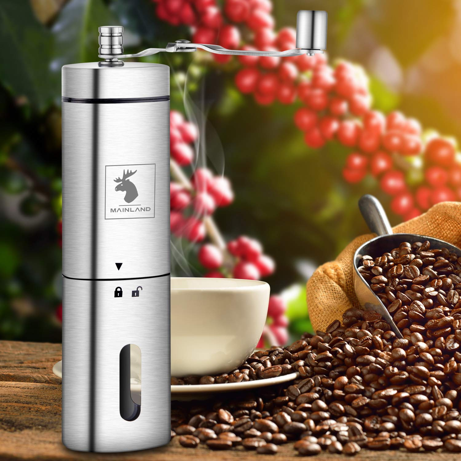 Manual Coffee Grinder by Mainland (Hand Held) Adjustable Fine, Medium, Coarse Grounds | Ceramic Burr Mill for Whole Bean Grinding | Home Kitchen, Office, Travel by Mainland (Image #8)