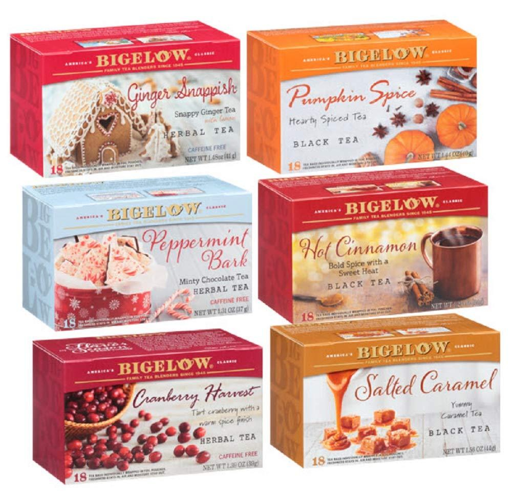 Bigelow Tea Seasonal 6 Flavor Variety Pack, 18 Count Tea Bags, 6Count