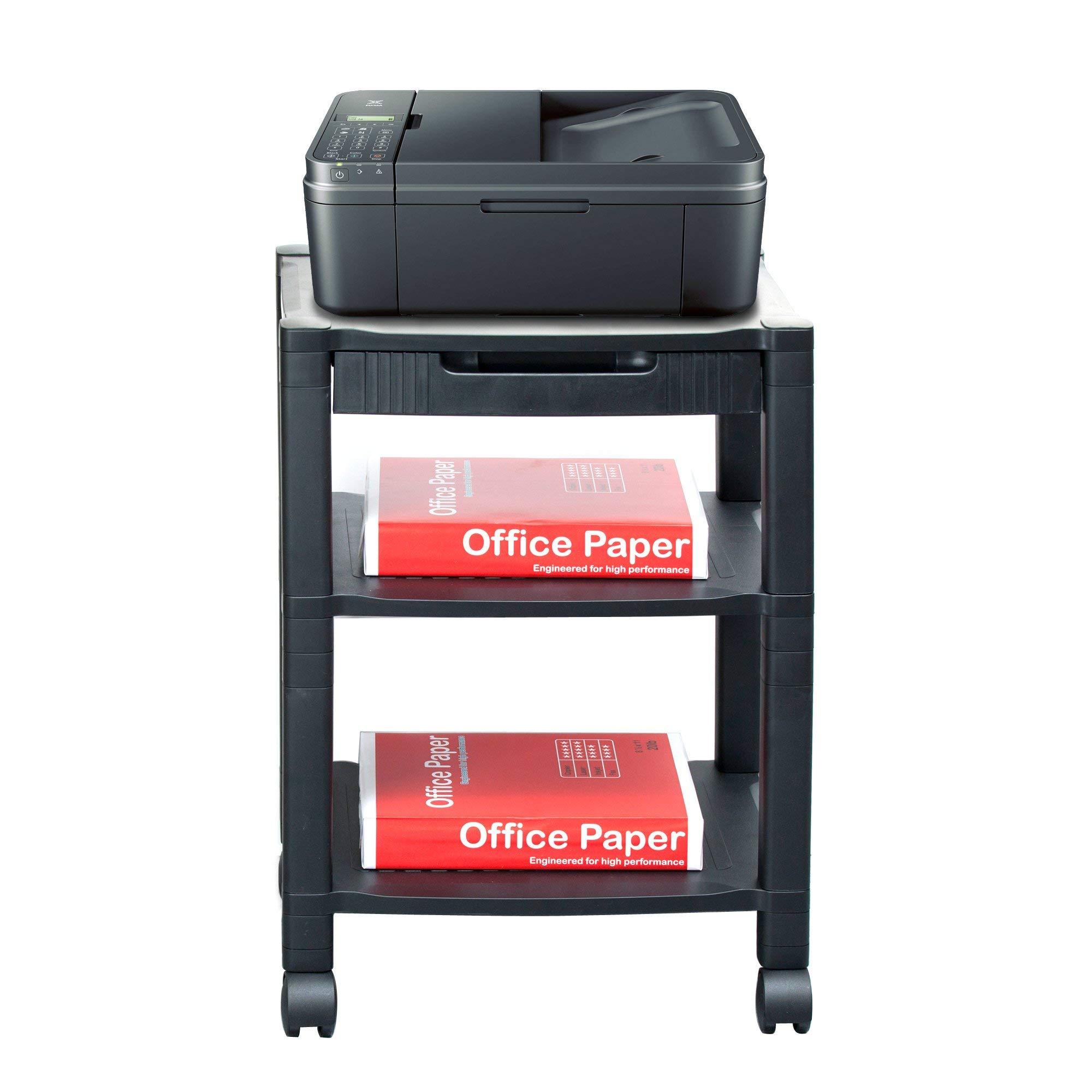 Mind Reader 3-Shelf Printer Cart, Stand with Wheels, Drawer, Cord Management, Black (Renewed) by Mind Reader