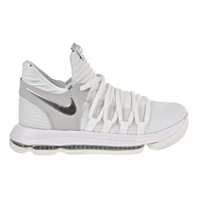 0dacc80d20b59 Nike Zoom KD10 GS Youth Basketball Sneakers (5y) White Chrome-Pure Platinum