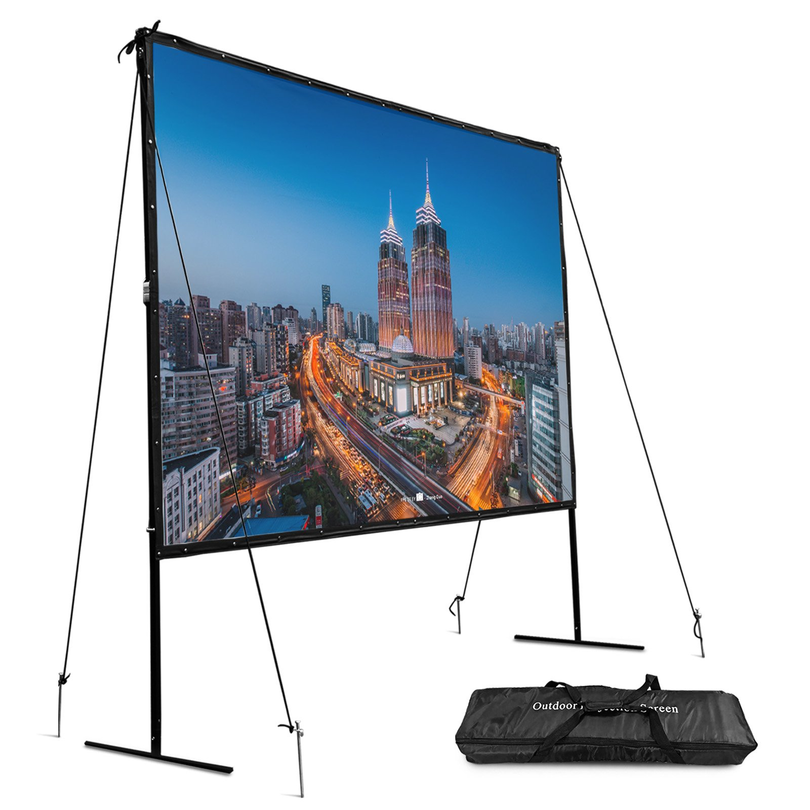 VEVOR Portable Projection Screen 144 Inch 16:9 Indoor and Outdoor Movie Screen with Stand Projector Screen with Carring Bag by VEVOR