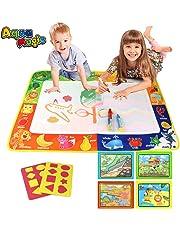PUZ Toy Geschenke für 2-4 Jährige Mädchen Aqua Zauber Doodle Matte Wasser Gekritzel Matte 75*50cm Kinder Spiele ab 2 Jahre Jungen Malen Wassermalbuch mit 3 Stiften Weihnachten Geburtstag Geschenke