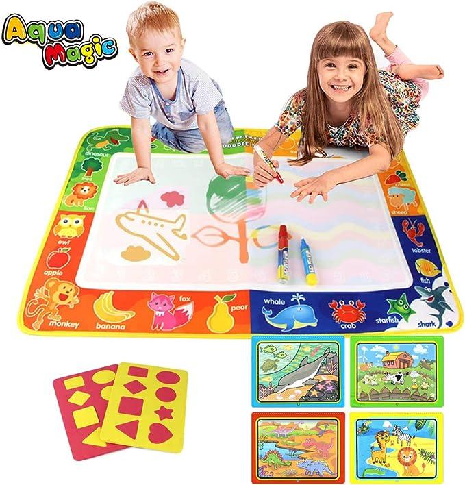 PUZ Toy Regalos para Niños 2-4 Años Aqua Magica Doodle 75*50cm Pizarra Magica Pinturas para Niños Estera Magica Infantil Libros Colorear Bebe con 3 Plumas