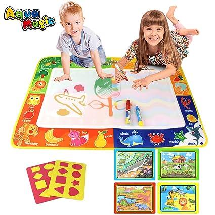 PUZ Toy Regalos para Niños 2-4 Años Aqua Magica Doodle 75*50cm Pizarra Magica Pinturas para Niños Estera Magica Infantil Libros Colorear Bebe con 3 ...