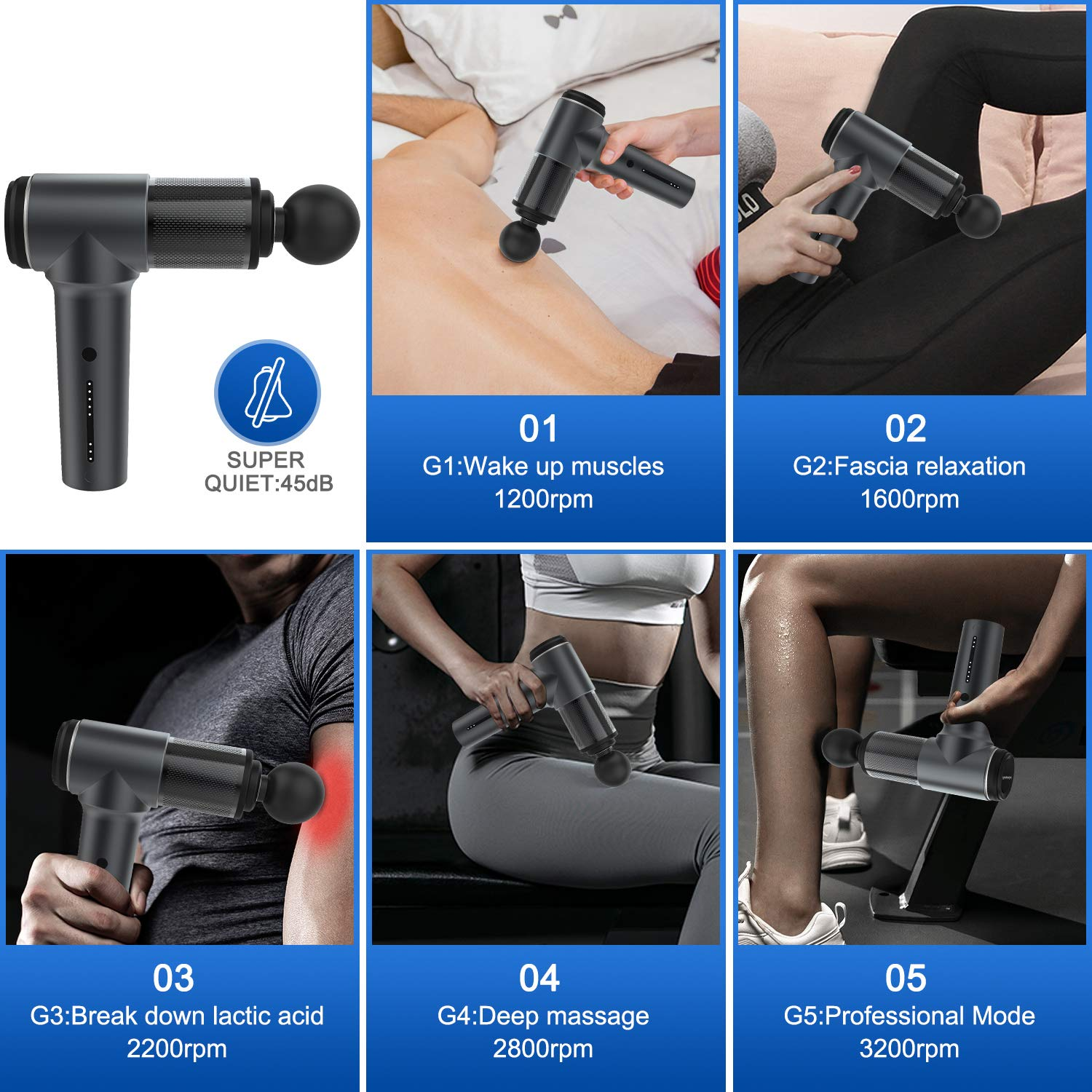ChampionGun Super Quiet Massage Gun Deep Tissue Percussion Muscle Massager for Pain Relief, Handheld Vibration Cordless Body Massage Device with 6 Massage Heads & Portable Case (Black)