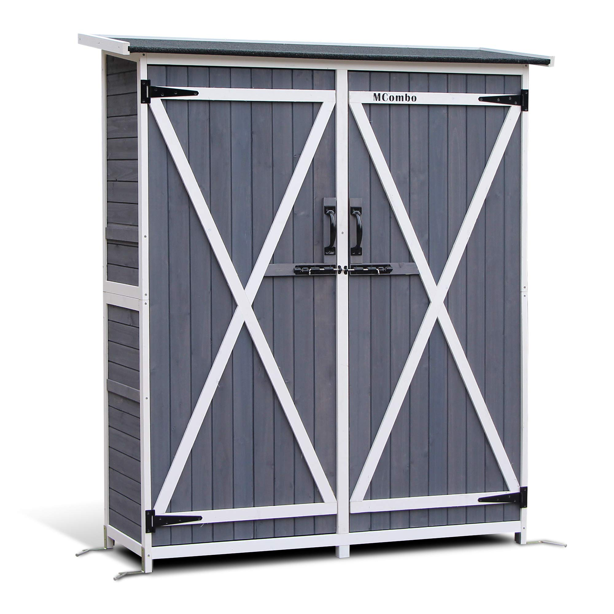 Mcombo Storage Shed Backyard Utility Tools Organizer Outdoor Wooden Garden Racks Shelves with Lockers 2 Doors Home Furniture 1400(Grey) by MCombo