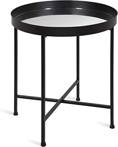 Kate and Laurel Celia Metal Foldable Round Accent Table, 18.25 x 18.25 x 22 , Glass Surface and Black Frame, Modern Minimalist Design and Detachable Magnetic Tabletop