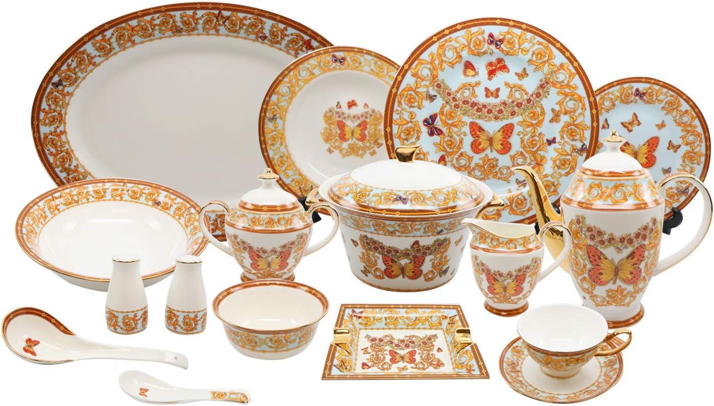 Royalty Porcelain 58 Pc Luxury Butterfly Banquet Dinner Set, Premium Bone China