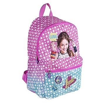 Mochila para niña de Disney Soy Luna - Bolso Escolar con Bolsillo Frontal con Estrella Blancas - Bolsa ...