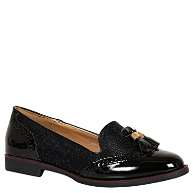 ByPublicDemand Gillian Womens Smart Flat Tassel Ladies Loafer Shoes