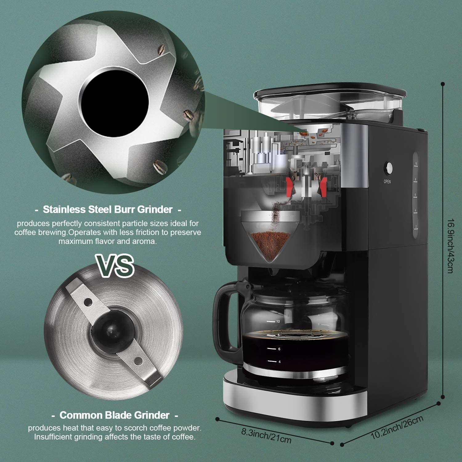 Amazon.com: Cafetera automática Barsetto Grind and Brew ...