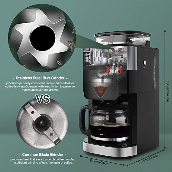 Amazon.com: Barsetto Grind and Brew - Cafetera automática ...