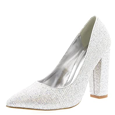 Womens Office Evening Block Heel Pointed Toe Pumps Shoes Work Court Shoe -  Silver - UK4