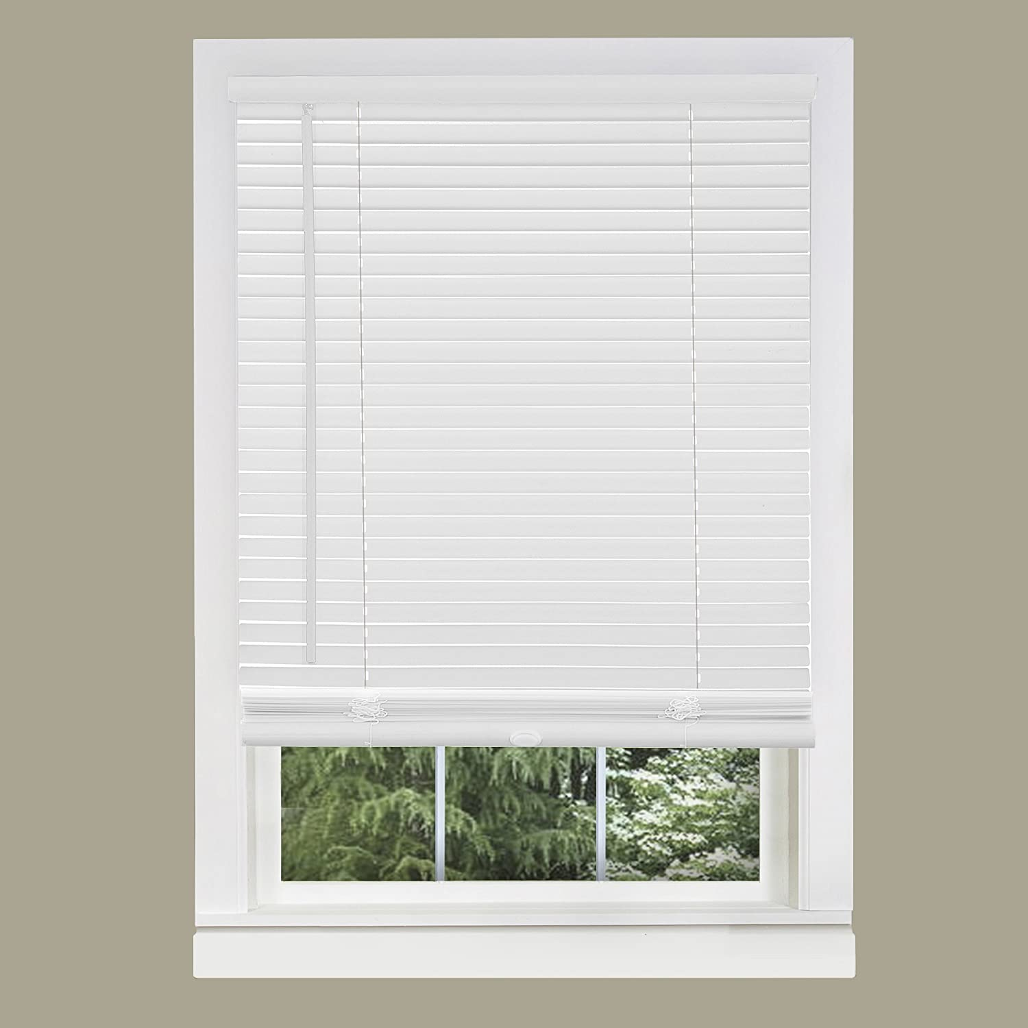 "Achim Home Furnishings Corded Morningstar 1"" Light Filtering Mini Blind, Width 36inch, Pearl White"