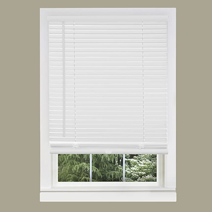 "Achim Home Furnishings Cordless GII Morningstar 1"" Light Filtering Mini Blind, Length 64inch Drop X Width 31inch, Pearl White"