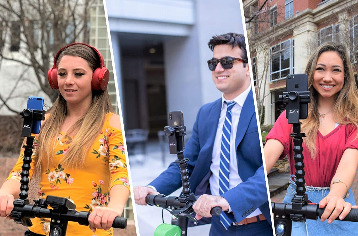 SCOOTY Flexible and Adjustable Phone Holder for Scooters and Bicycles Compatible with Lime, Bird, Spin, Lyft, and iPhone 11//11 Pro//11 Pro Max//X//XS//8//7//6, Samsung Galaxy Note 10+//10//9//8 and Others
