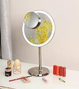 Hansong Makeup Vanity Mirror with Lights,Round Mirror Plug in Light-up Professional Mirror,10x Magnetic Attraction Magnification,Bathroom Mirror,Rechargeable and Cordless, Stainless Steel
