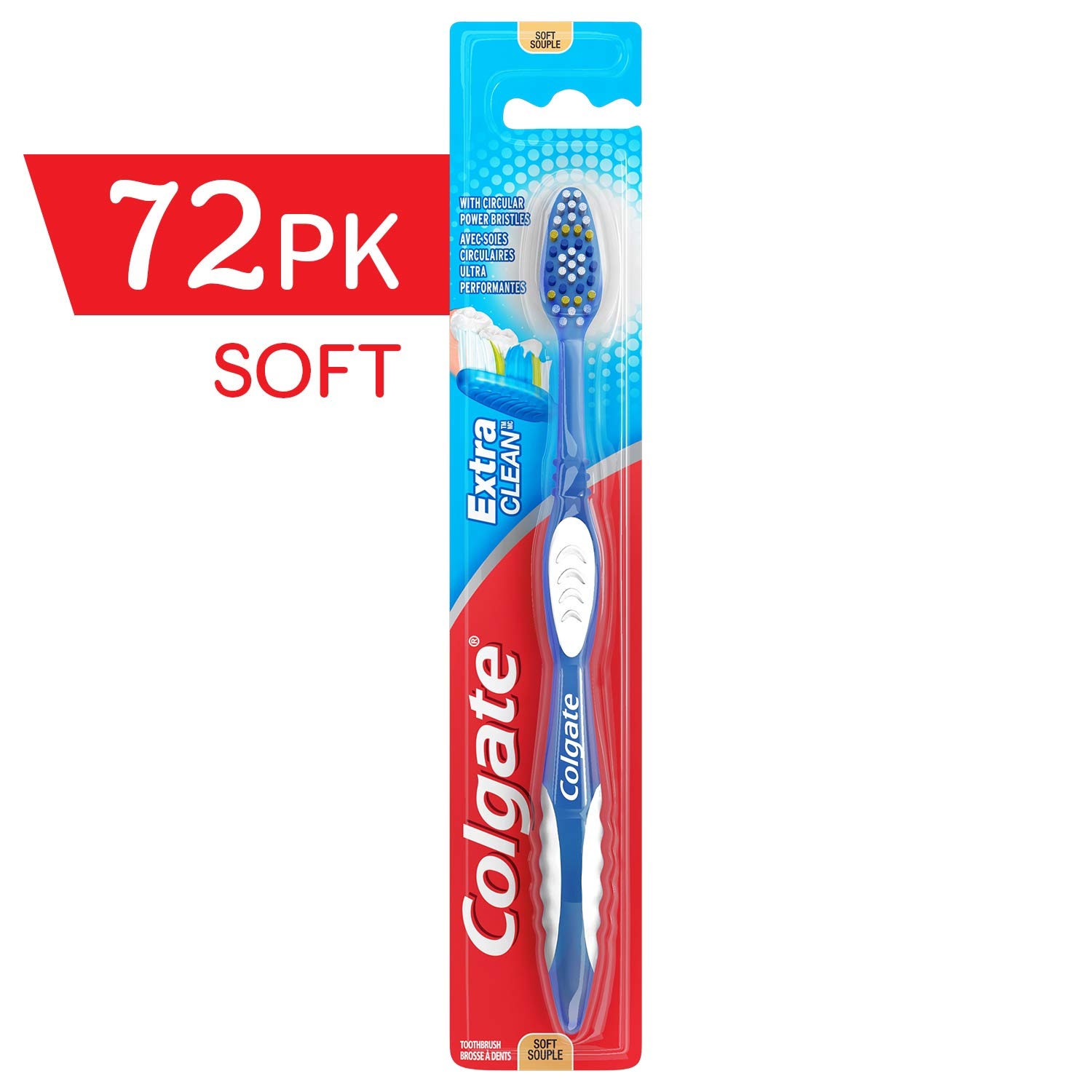 COLGATE Extra Clean Toothbrush Soft, Soft Toothbrush, Bulk Toothbrushes, Travel Toothbrush, (Case of 72) (Model Number: 155676) by Colgate