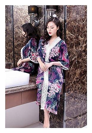 GAOHUI Señoras Algodón Albornoces Japonés Estilo Coreano Primavera Otoño Albornoz Flor Violeta: Amazon.es: Deportes y aire libre