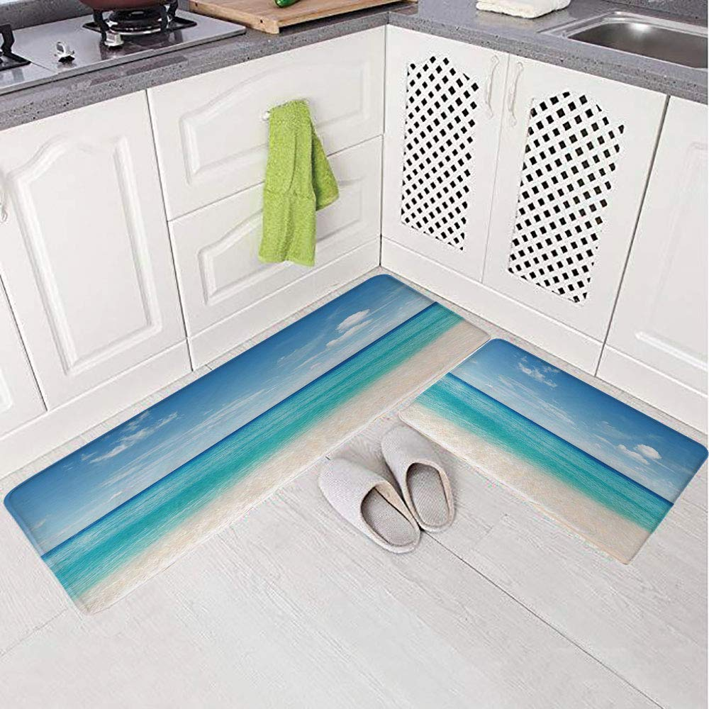 2 Piece Non-Slip Kitchen Mat Rug Set Doormat 3D Print,n Sea Shore Sand Beach Blue Calm Peaceful Sea,Bedroom Living Room Coffee Table Household Skin Care Carpet Window Mat,