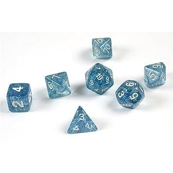 shibby 7 Dados poliédricos en Azul rutilar para Juegos de rol y ...