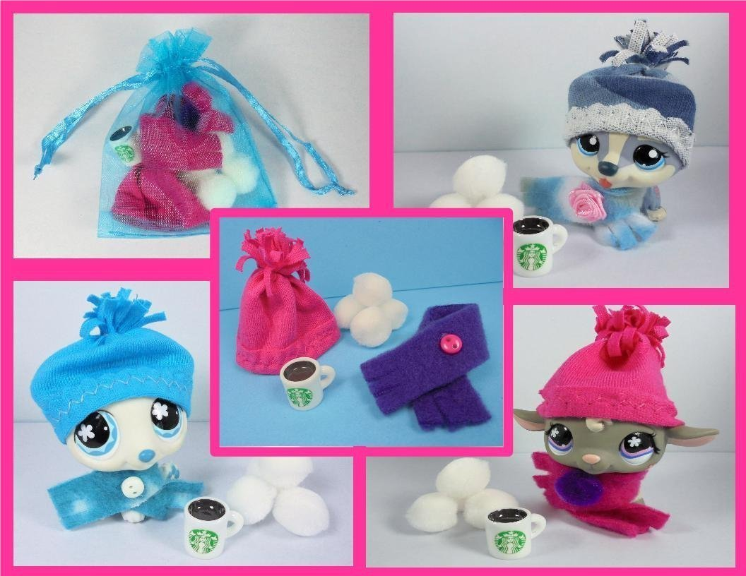 LPS Accessories Clothes Starbucks Littlest Pet Shop Hat Scarf Starbucks Hot Chocolate Snowballs; NO Pet included