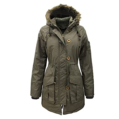 f006f5bd8 Womens Military Style Parka Coat Ladies Jacket with Faux Fur Hood 8-16:  Amazon.co.uk: Clothing