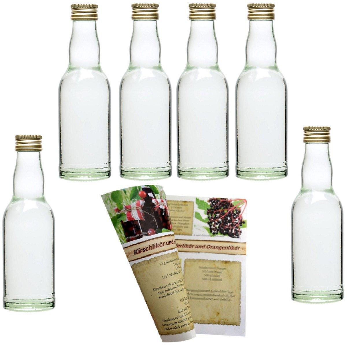 Set di bottiglie di vetro, vuote, da 200ml, includetappi a vite in argento e ricettario di 28pagine (lingua italiana non garantita), ideale per liquori, aceto, olio., gold, 24er Set gouveo