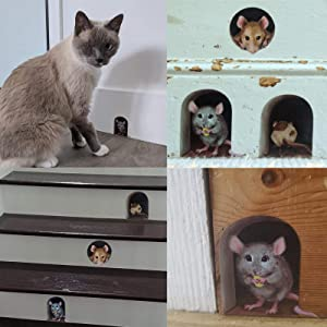 3 Pcs   Animals Decal Hole Floor Stair Stickers Vinyl Home Wall Decor for Living Room Nursery Bedroom Window - Realistic 3D Funny DIY Wall Art (Mouse)