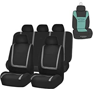 FH Group FB032115 Unique Flat Cloth Seat Covers (Gray) Full Set with Gift - Universal Fit for Cars Trucks and SUVs