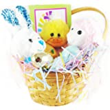 Easter Gift Basket Premade and wrapped (13pc set) - Filled with Easter plushies, stuffed eggs, activity book and multi-colored Easter grass