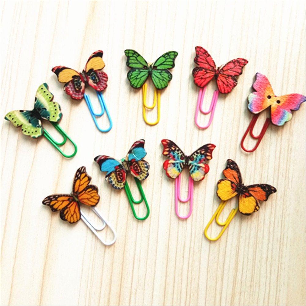 50/x oyfel Graffette Fantasia di carta con decorazione di farfalla in legno per documenti cartelle colore casuale 3,3/cm