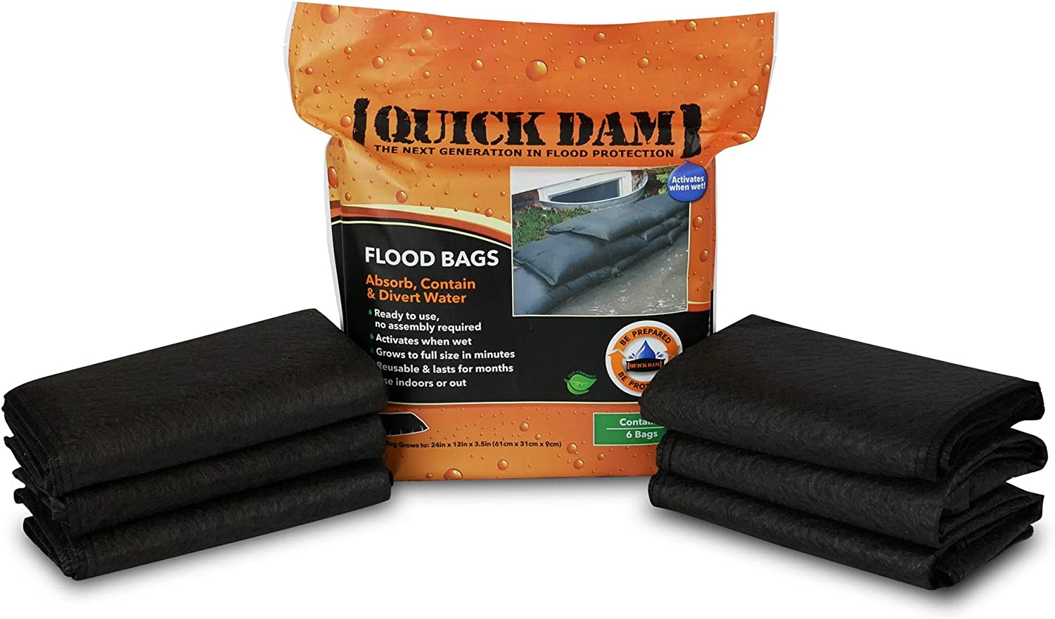 Quick Dam - QD1224-6 Water Activated Flood Bags 1ft x 2ft, 6-Pack: Flood Bags: Industrial & Scientific