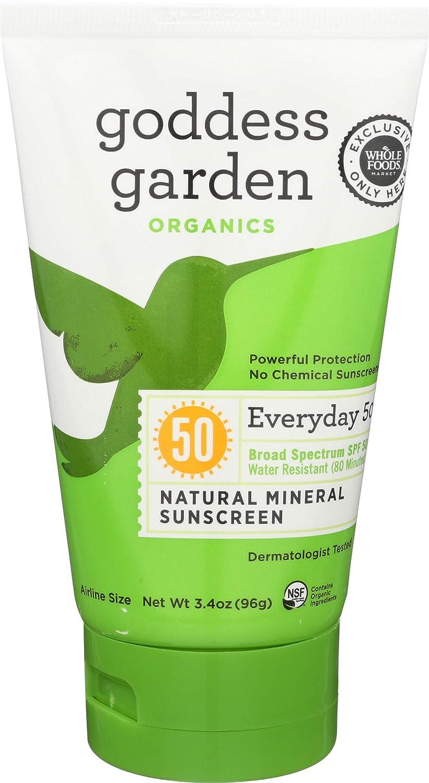 Goddess Garden, Sunscreen Natural Mineral Everyday SPF50, 3.4 Ounce