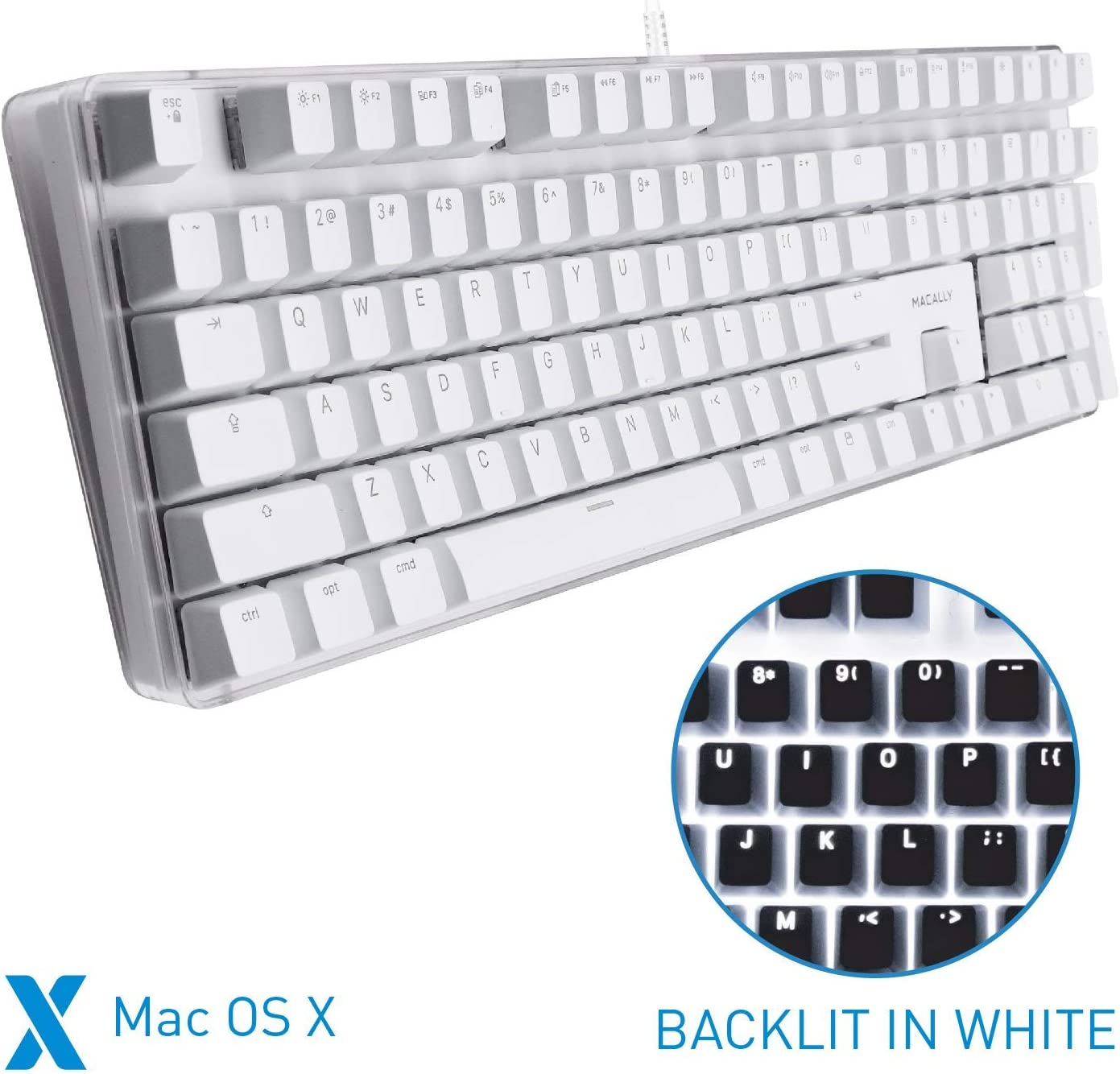 Macally Backlit Mechanical Keyboard for Mac - for Apple Mac Mini, Mac Pro, iMac, iMac Pro, MacBook Pro/Air - Full Size Mac Mechanical Keyboard with Brown Switches - USB Wired and Adjustable Backlit