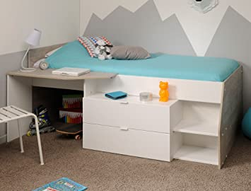 Etagenbett Jungen : Hochbett mika für mädchen und jungen cm weiß grau