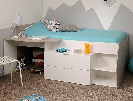 Etagenbett Für Mädchen : Hochbett mika für mädchen und jungen cm weiß grau