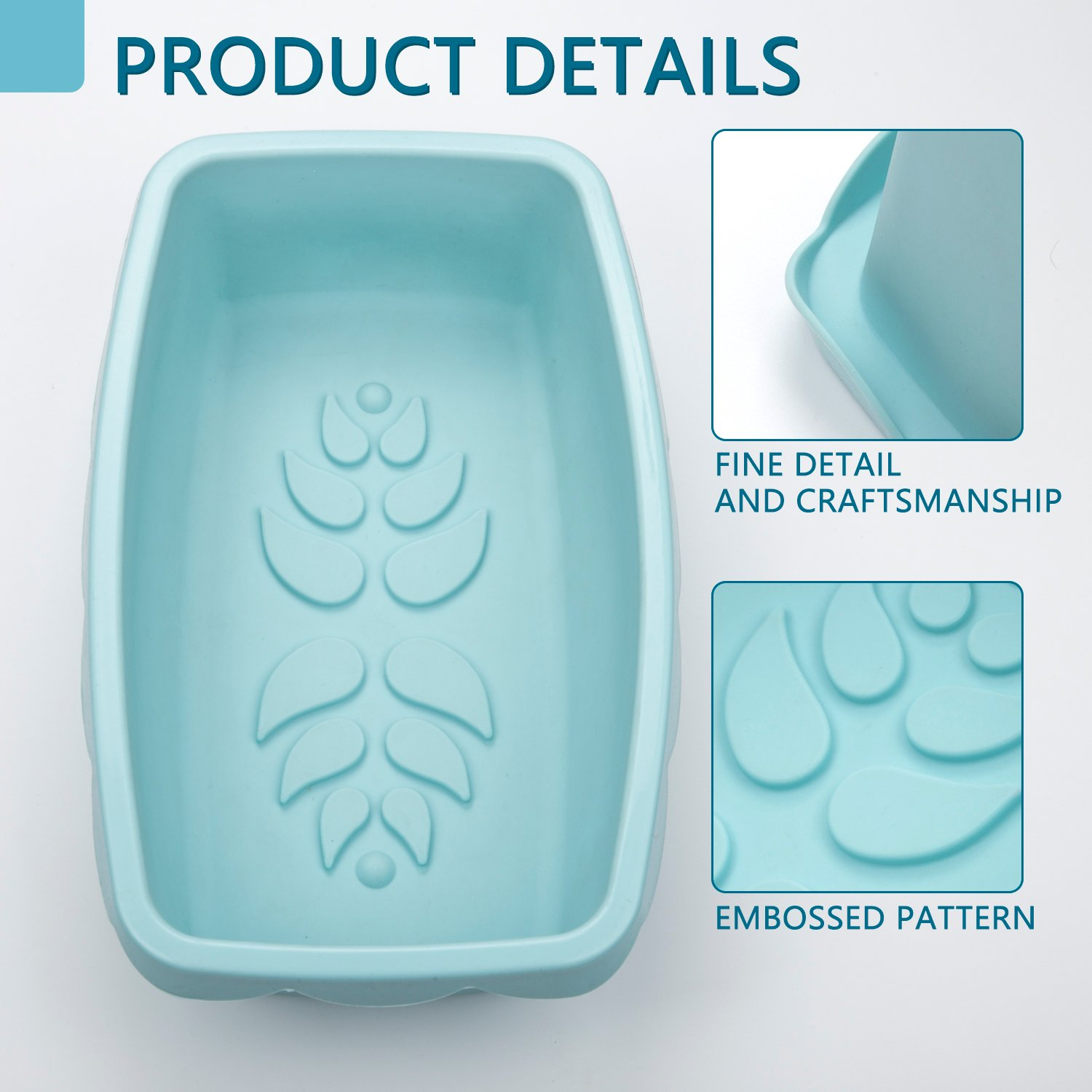 Silicone Loaf Pan Nonstick Bread Cake Baking Mold Rectangular with Decorative Pattern for Homemade Cakes Breads Meatloaf - 10.5 x 6.5 x 3.0 Inch - Microwave Dishwasher Safe, BPA Free by DOSHH (Image #3)