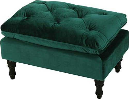 GDF Studio Jeremiah Tufted Pillow Top New Velvet Ottoman Teal
