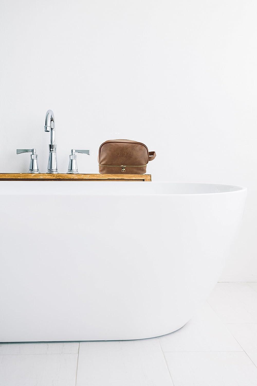 Poign/ée Kit Dopp Doublure r/ésistante /à leau Trousse de Toilette Compartiments Double Couche avec Fermetures /éclair Trousse de Toilette pour Homme Violet Solide et Durable